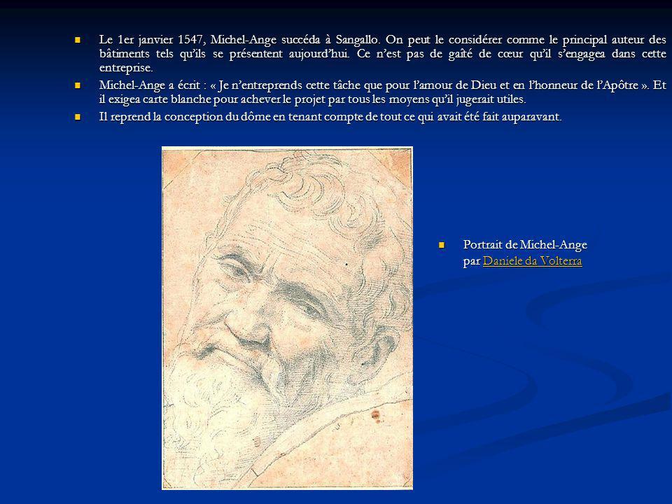 Le 1er janvier 1547, Michel-Ange succéda à Sangallo. On peut le considérer comme le principal auteur des bâtiments tels quils se présentent aujourdhui