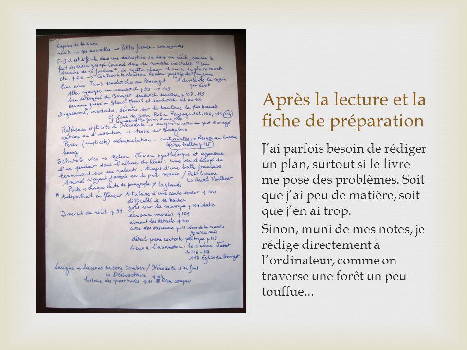 Après la lecture et la fiche de préparation Jai parfois besoin de rédiger un plan, surtout si le livre me pose des problèmes.