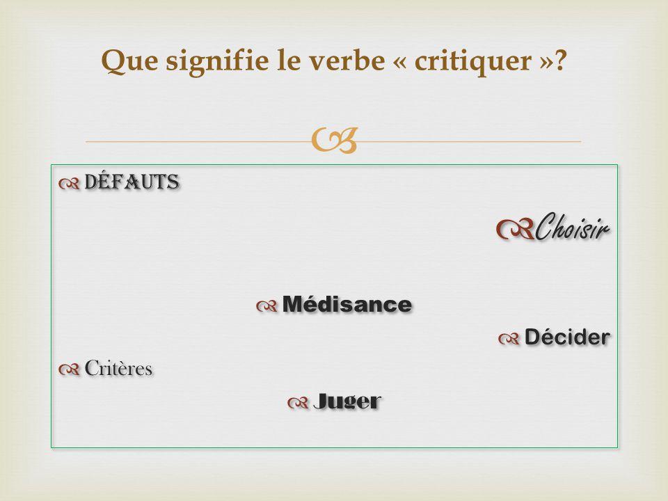 Défauts Choisir Médisance Décider Critères Juger Défauts Choisir Médisance Décider Critères Juger Que signifie le verbe « critiquer »?