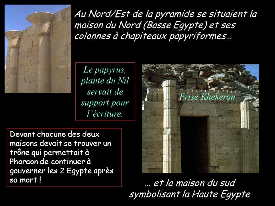Au Nord/Est de la pyramide se situaient la maison du Nord (Basse Egypte) et ses colonnes à chapiteaux papyriformes… … et la maison du sud symbolisant la Haute Egypte Devant chacune des deux maisons devait se trouver un trône qui permettait à Pharaon de continuer à gouverner les 2 Egypte après sa mort .