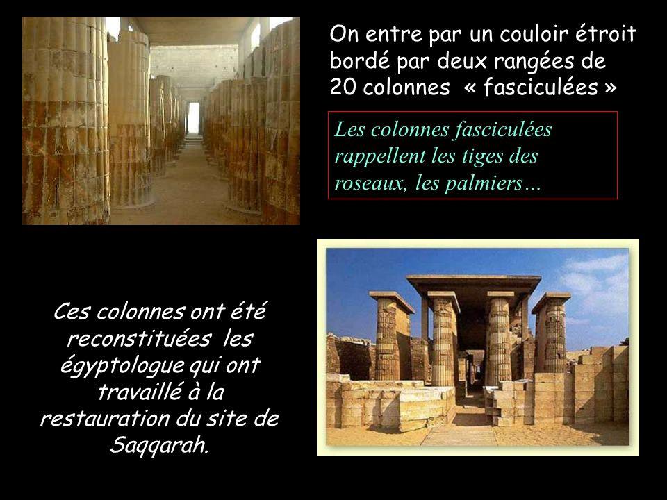 On entre par un couloir étroit bordé par deux rangées de 20 colonnes « fasciculées » Ces colonnes ont été reconstituées les égyptologue qui ont travaillé à la restauration du site de Saqqarah.