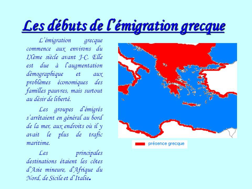 Les débuts de lémigration grecque Lémigration grecque commence aux environs du IXème siècle avant J-C. Elle est due à laugmentation démographique et a