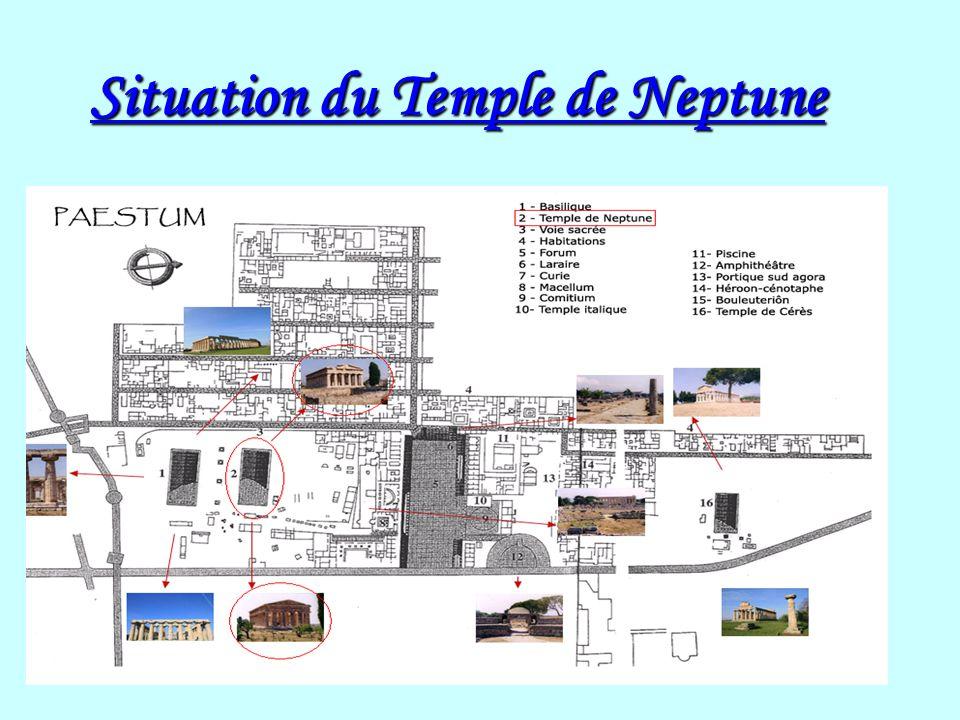 Présentation du temple de Neptune Le temple de Neptune fait 58 mètres de long, 26 mètres de large et plus de 9 mètres de haut.