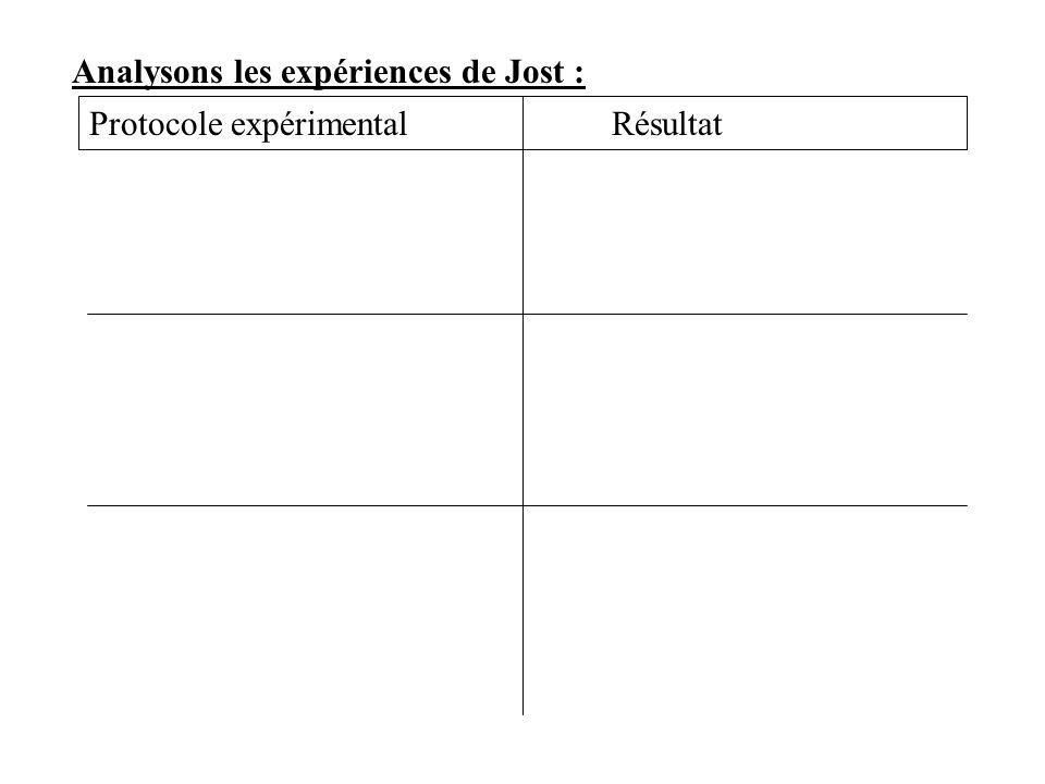 Analysons les expériences de Jost : Protocole expérimentalRésultat