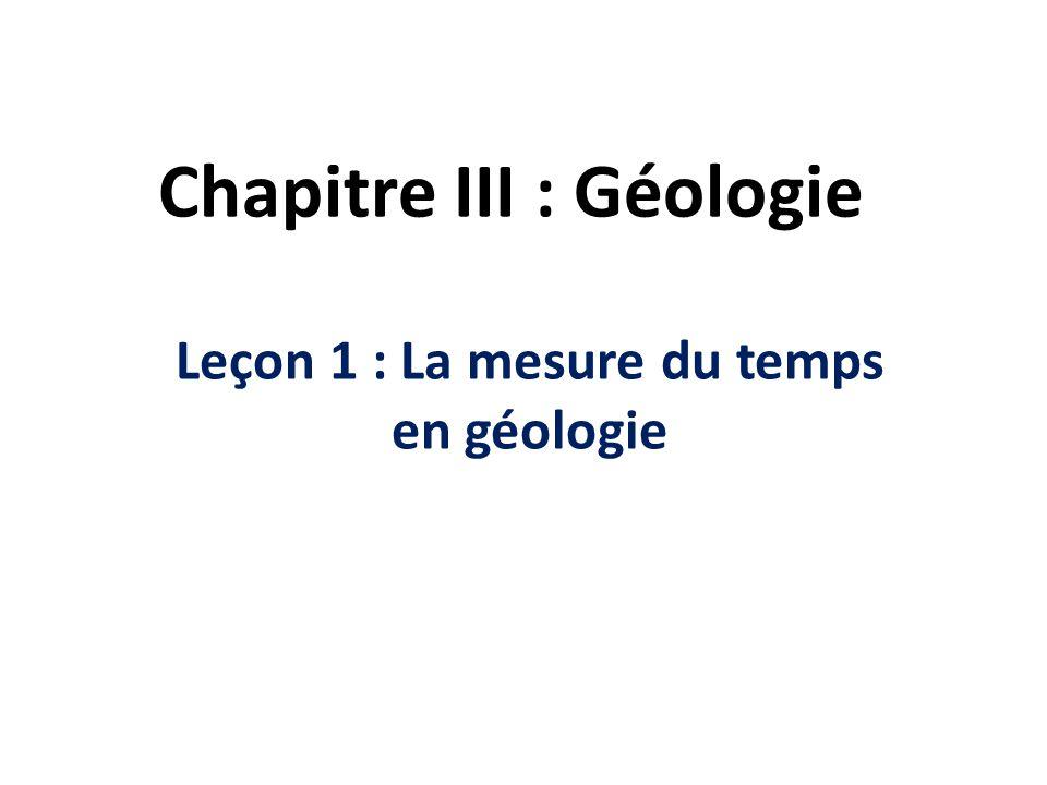 Chapitre III : Géologie Leçon 1 : La mesure du temps en géologie