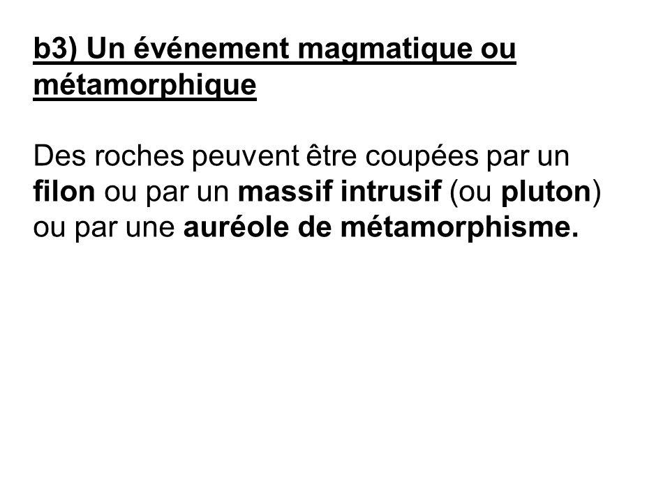 b3) Un événement magmatique ou métamorphique Des roches peuvent être coupées par un filon ou par un massif intrusif (ou pluton) ou par une auréole de métamorphisme.