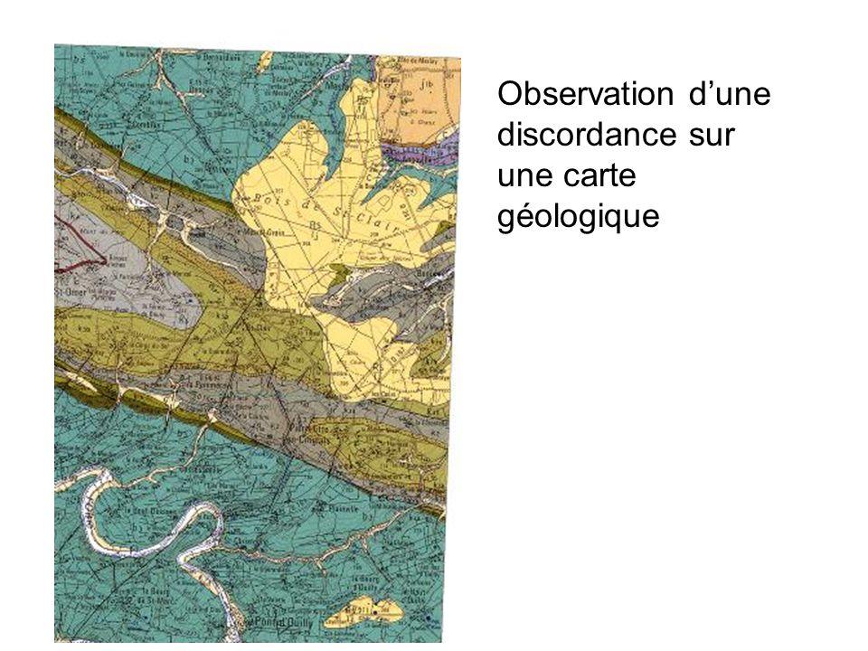 Observation dune discordance sur une carte géologique