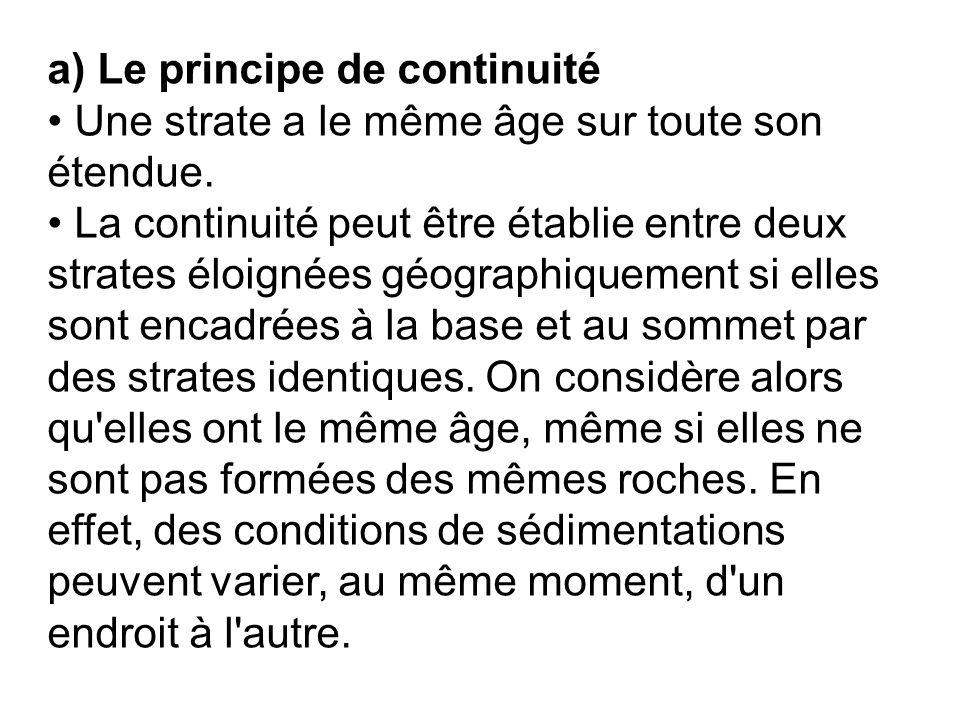 a) Le principe de continuité Une strate a le même âge sur toute son étendue. La continuité peut être établie entre deux strates éloignées géographique