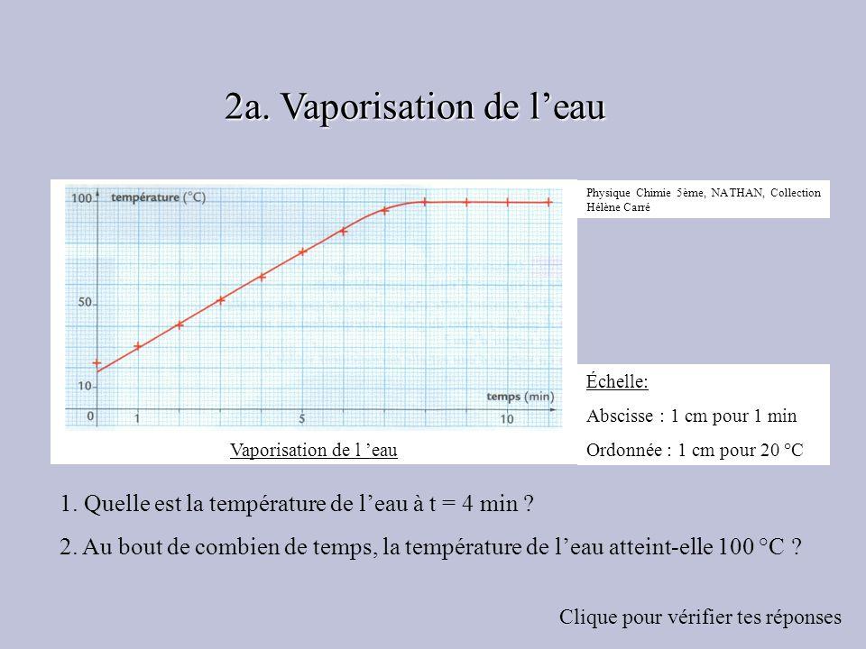 1. Quelle est la température de leau à t = 4 min ? 2. Au bout de combien de temps, la température de leau atteint-elle 100 °C ? Clique pour vérifier t