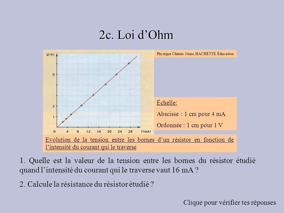 1. Quelle est la valeur de la tension entre les bornes du résistor étudié quand lintensité du courant qui le traverse vaut 16 mA ? 2. Calcule la résis