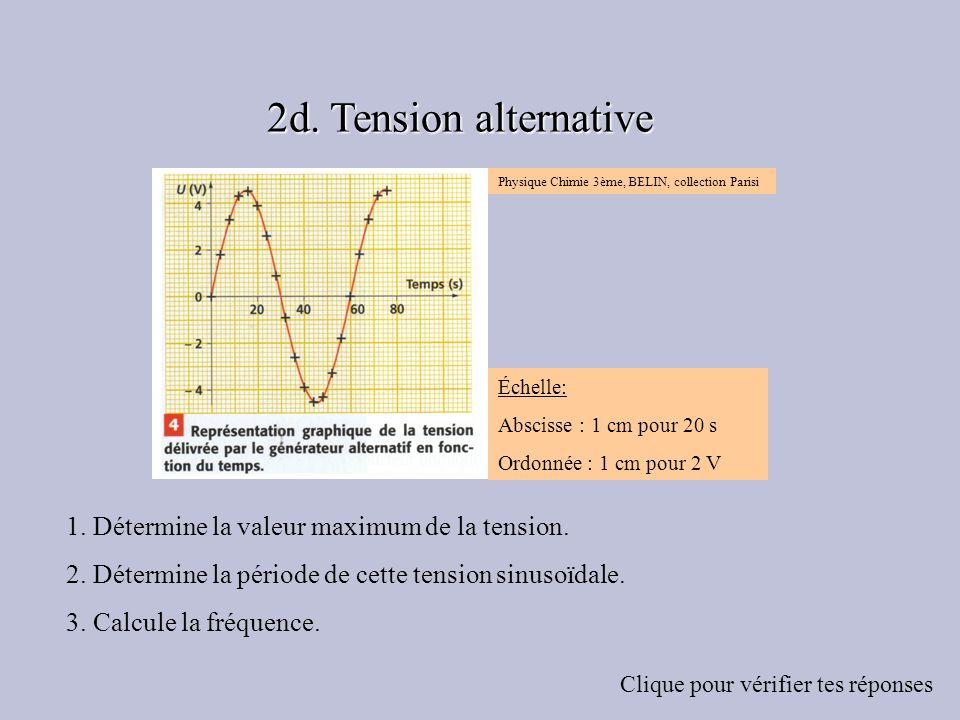1. Détermine la valeur maximum de la tension. 2. Détermine la période de cette tension sinusoïdale. 3. Calcule la fréquence. Clique pour vérifier tes