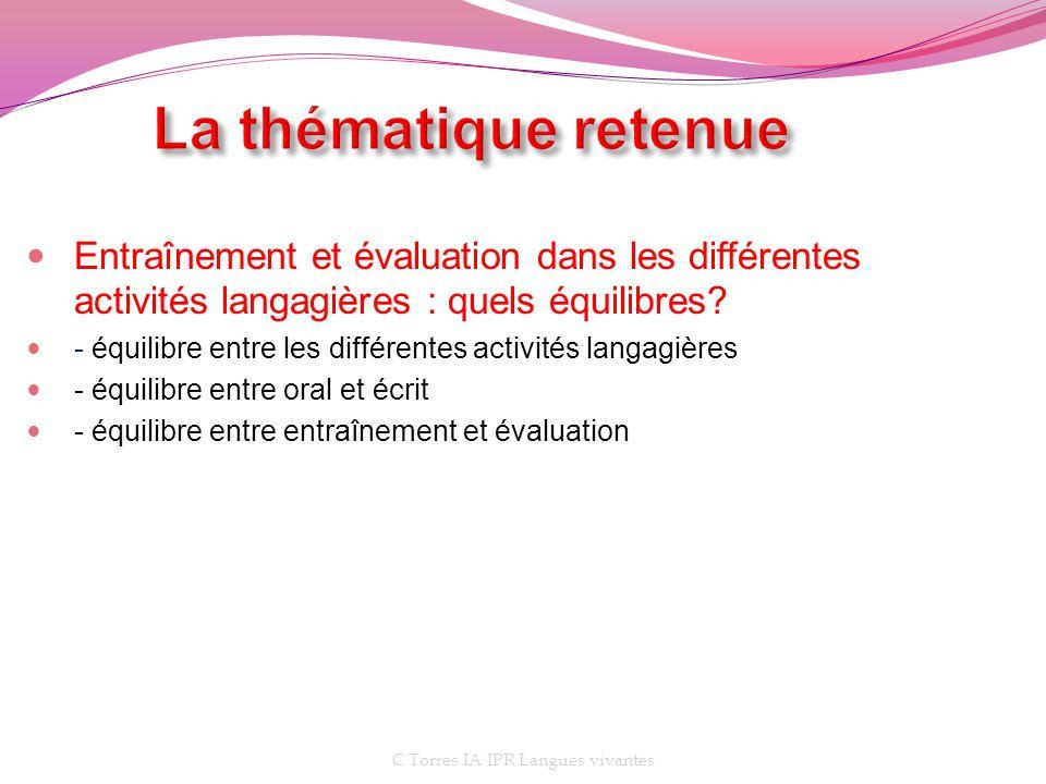 Entraînement et évaluation dans les différentes activités langagières : quels équilibres? - équilibre entre les différentes activités langagières - éq