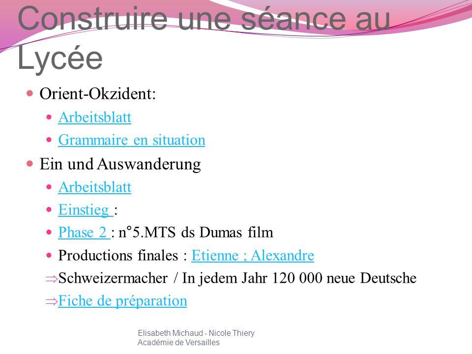 Construire une séance au Lycée Orient-Okzident: Arbeitsblatt Grammaire en situation Ein und Auswanderung Arbeitsblatt Einstieg : Einstieg Phase 2 : n°