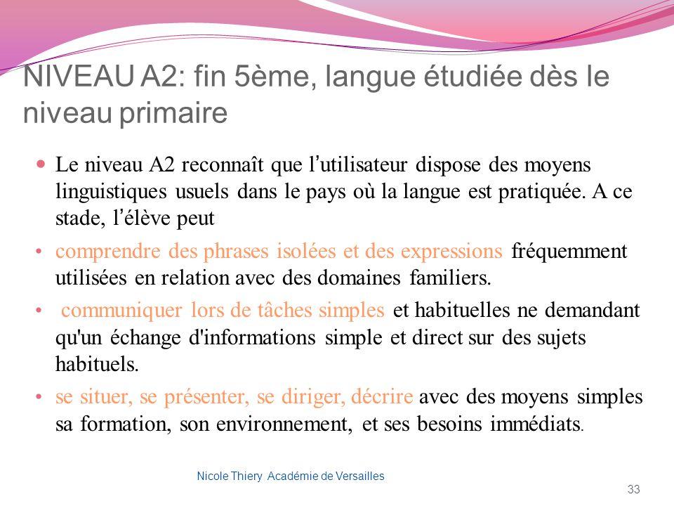 NIVEAU A2: fin 5ème, langue étudiée dès le niveau primaire Le niveau A2 reconnaît que lutilisateur dispose des moyens linguistiques usuels dans le pay