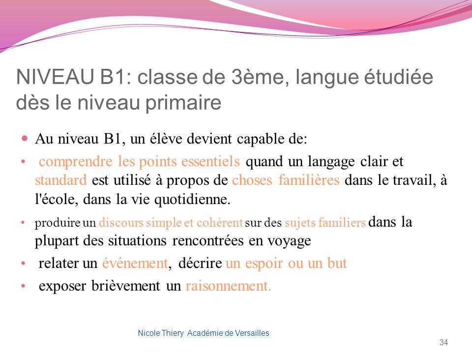 NIVEAU B1: classe de 3ème, langue étudiée dès le niveau primaire Au niveau B1, un élève devient capable de: comprendre les points essentiels quand un
