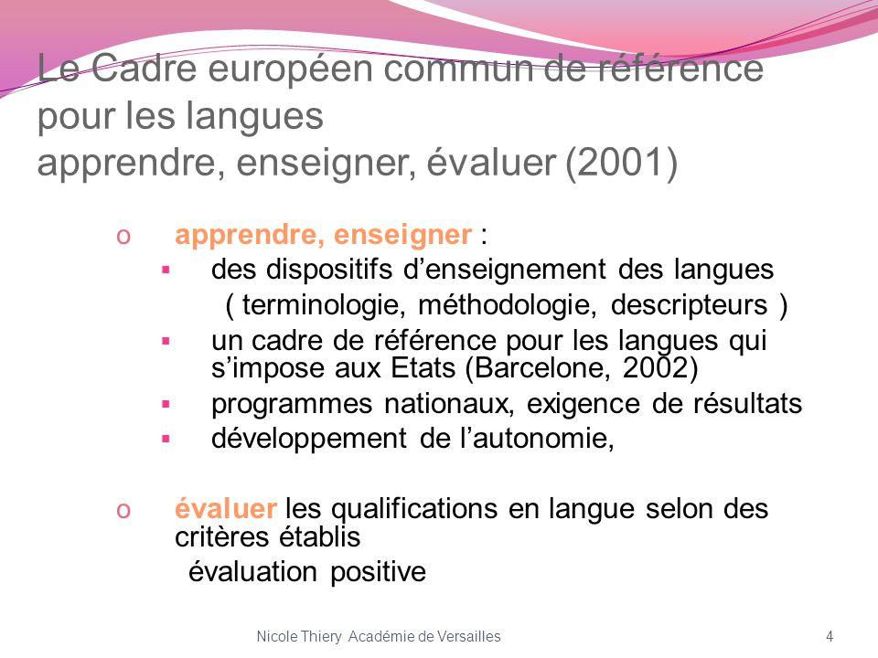Le Cadre européen commun de référence pour les langues apprendre, enseigner, évaluer (2001) o apprendre, enseigner : des dispositifs denseignement des