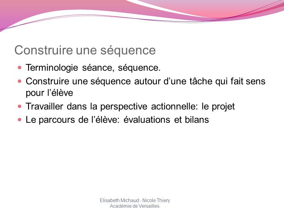 Construire une séquence Terminologie séance, séquence. Construire une séquence autour dune tâche qui fait sens pour lélève Travailler dans la perspect