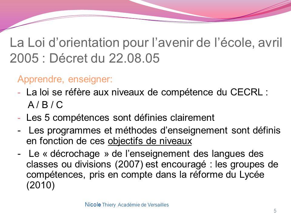 La Loi dorientation pour lavenir de lécole, avril 2005 : Décret du 22.08.05 Apprendre, enseigner: - La loi se réfère aux niveaux de compétence du CECR