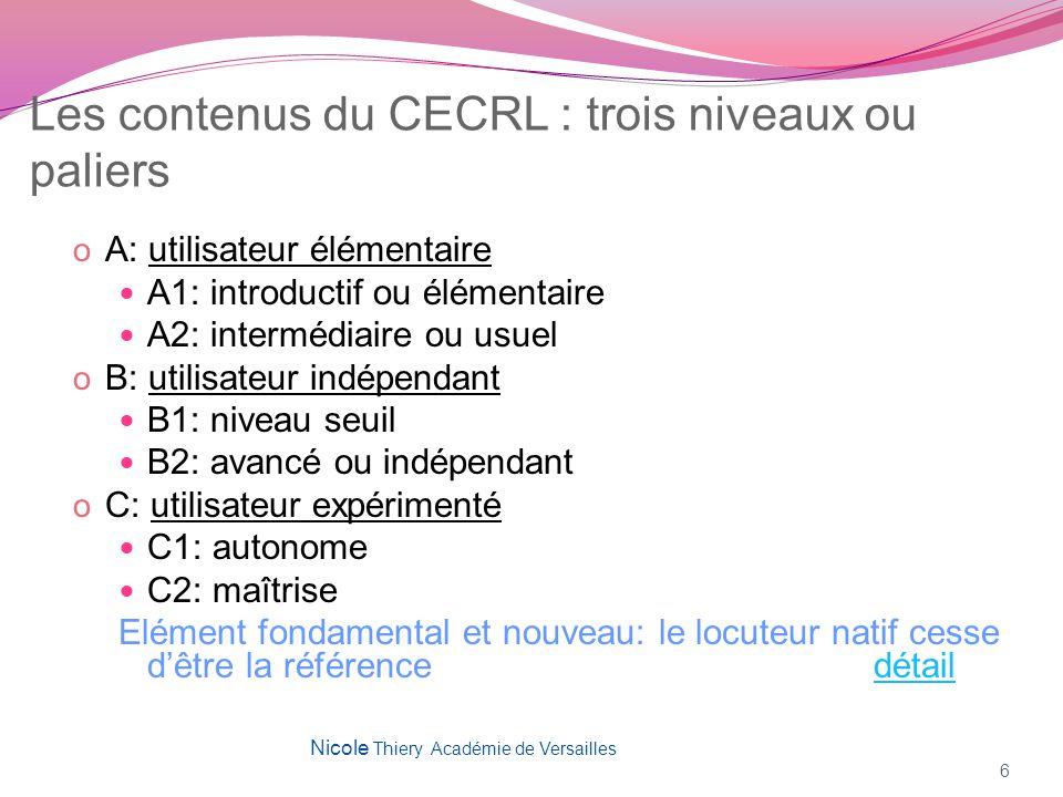 Les contenus du CECRL : trois niveaux ou paliers o A: utilisateur élémentaire A1: introductif ou élémentaire A2: intermédiaire ou usuel o B: utilisate