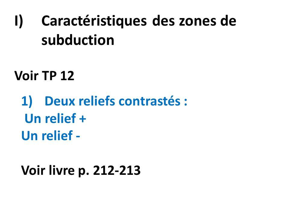 I)Caractéristiques des zones de subduction Voir TP 12 1)Deux reliefs contrastés : Un relief + Un relief - Voir livre p.