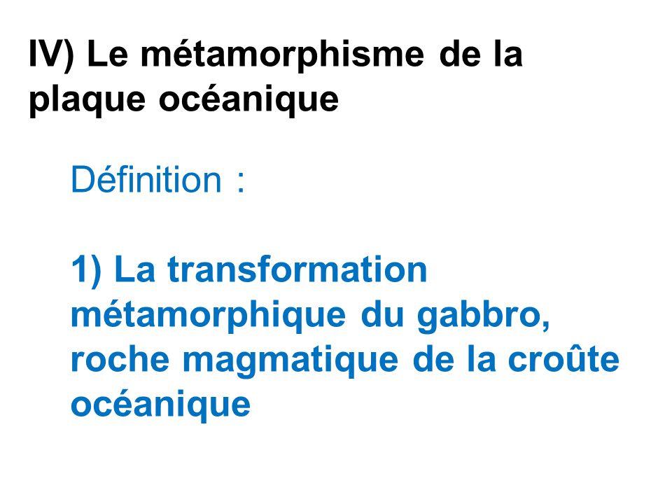 IV) Le métamorphisme de la plaque océanique Définition : 1) La transformation métamorphique du gabbro, roche magmatique de la croûte océanique