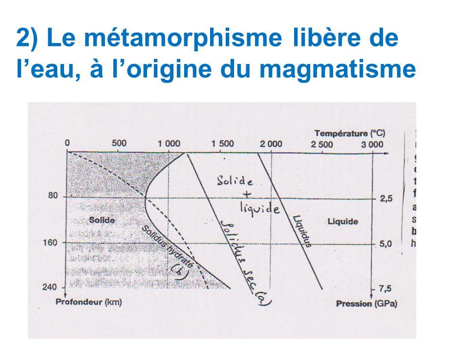 2) Le métamorphisme libère de leau, à lorigine du magmatisme