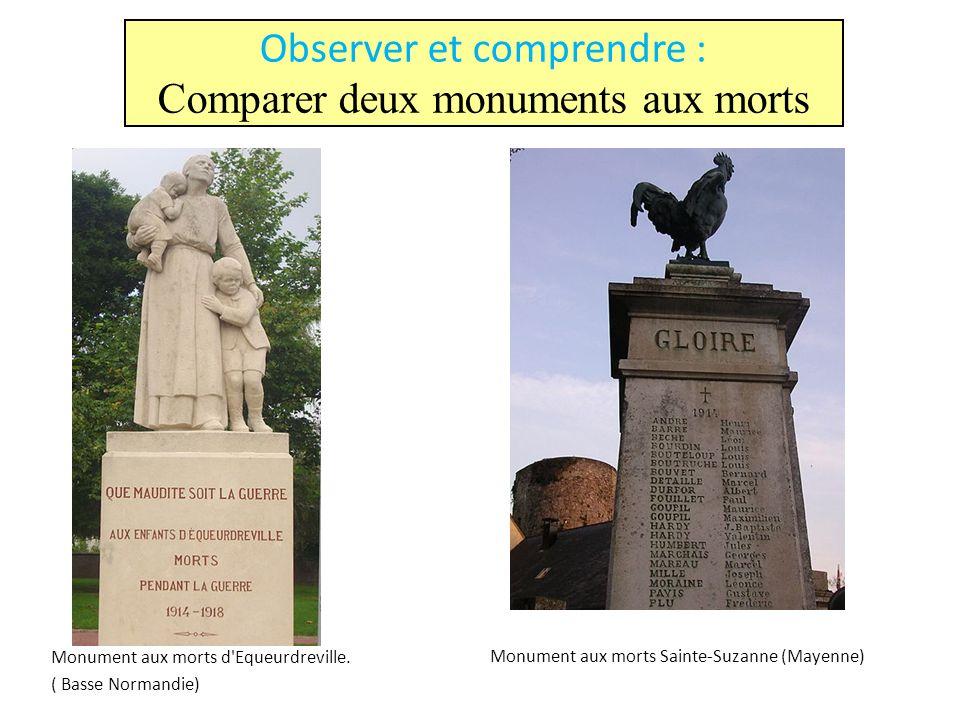 Monument aux morts d'Equeurdreville. ( Basse Normandie) Monument aux morts Sainte-Suzanne (Mayenne) Observer et comprendre : Comparer deux monuments a