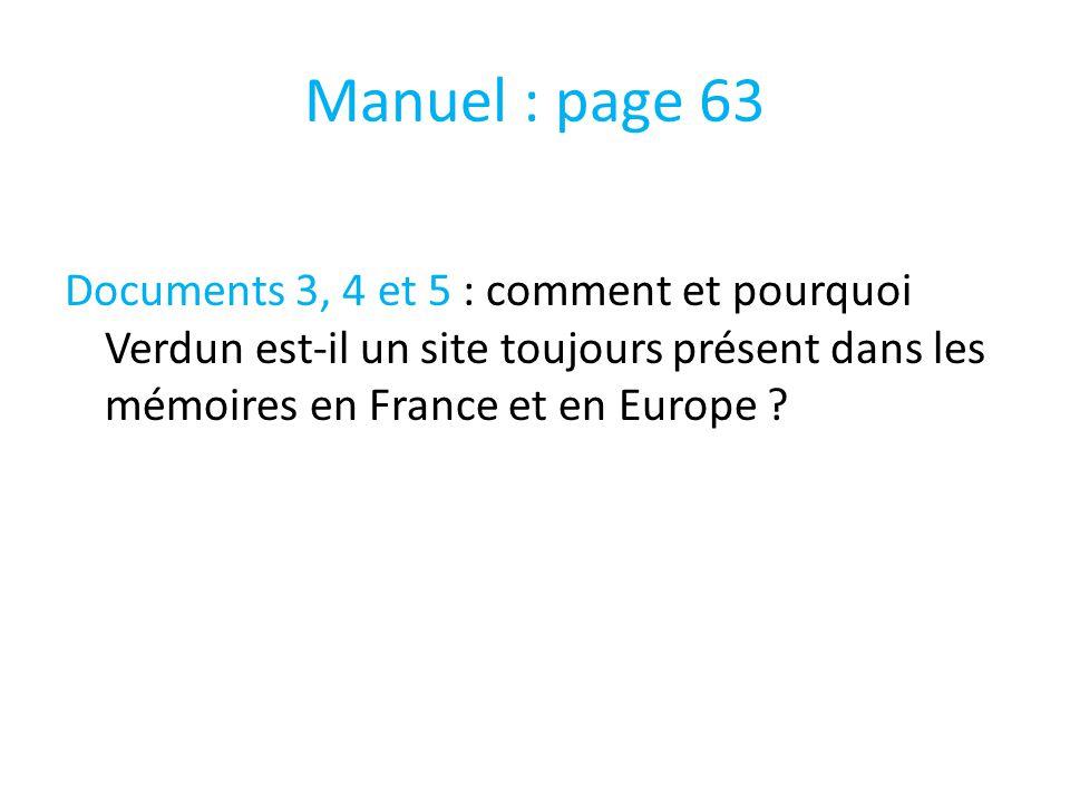 Manuel : page 63 Documents 3, 4 et 5 : comment et pourquoi Verdun est-il un site toujours présent dans les mémoires en France et en Europe ?