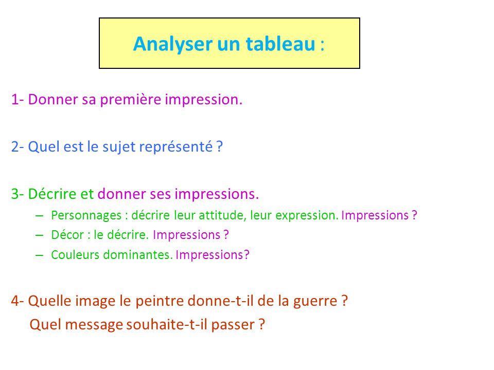 Analyser un tableau : 1- Donner sa première impression. 2- Quel est le sujet représenté ? 3- Décrire et donner ses impressions. – Personnages : décrir