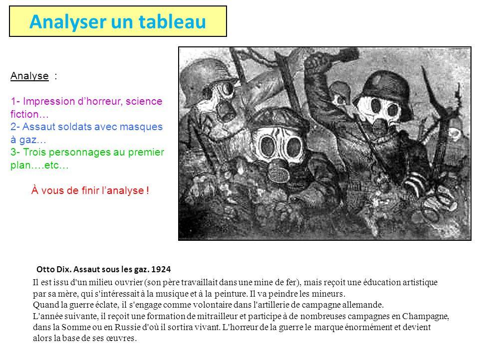 Otto Dix. Assaut sous les gaz. 1924 Il est issu d'un milieu ouvrier (son père travaillait dans une mine de fer), mais reçoit une éducation artistique