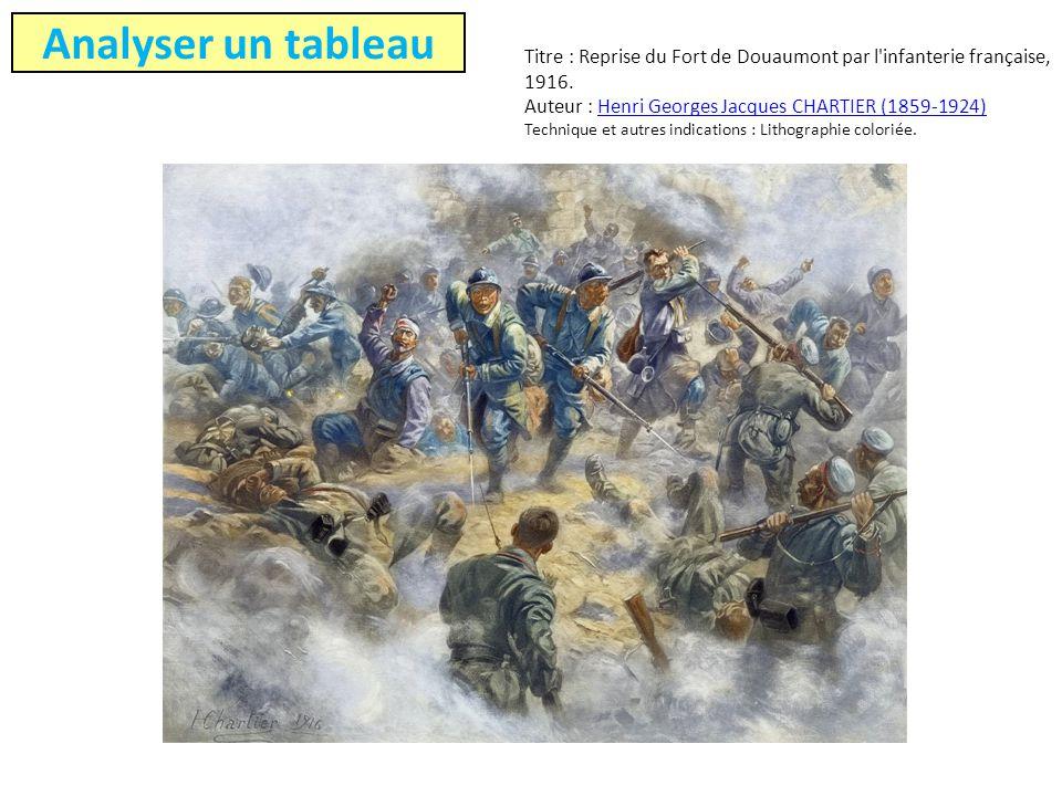 Titre : Reprise du Fort de Douaumont par l'infanterie française, 1916. Auteur : Henri Georges Jacques CHARTIER (1859-1924) Technique et autres indicat