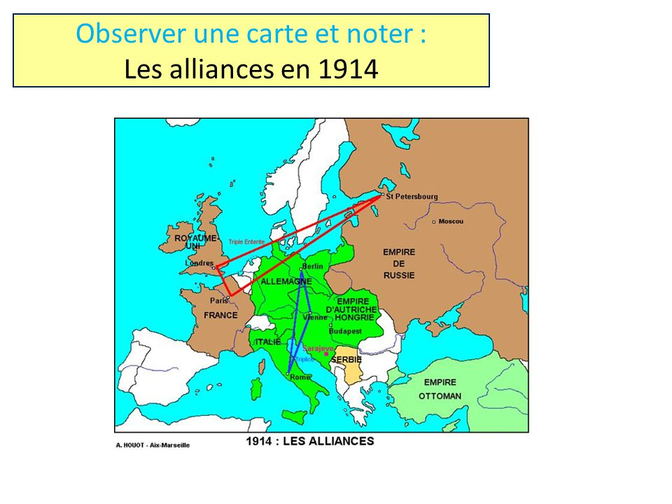Observer une carte et noter : Les alliances en 1914