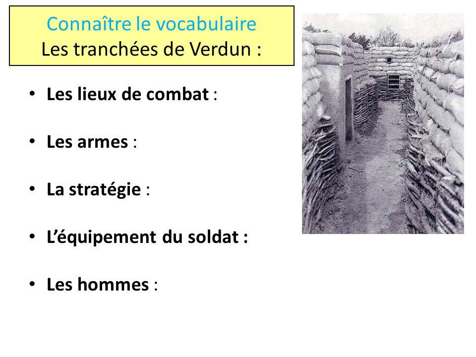 Connaître le vocabulaire Les tranchées de Verdun : Les lieux de combat : Les armes : La stratégie : Léquipement du soldat : Les hommes :