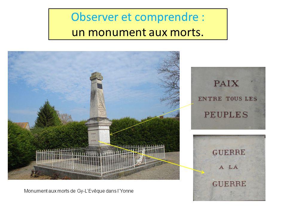 Observer et comprendre : un monument aux morts. Monument aux morts de Gy-LEvêque dans lYonne
