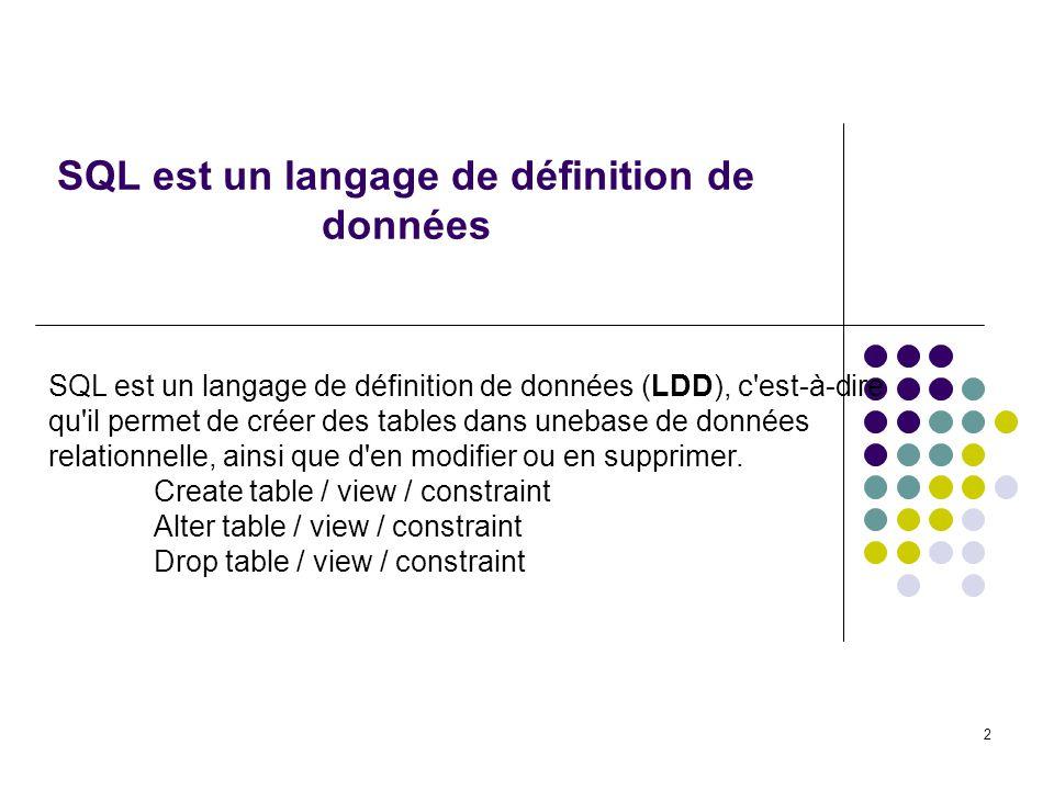 2 SQL est un langage de définition de données SQL est un langage de définition de données (LDD), c est-à-dire qu il permet de créer des tables dans unebase de données relationnelle, ainsi que d en modifier ou en supprimer.