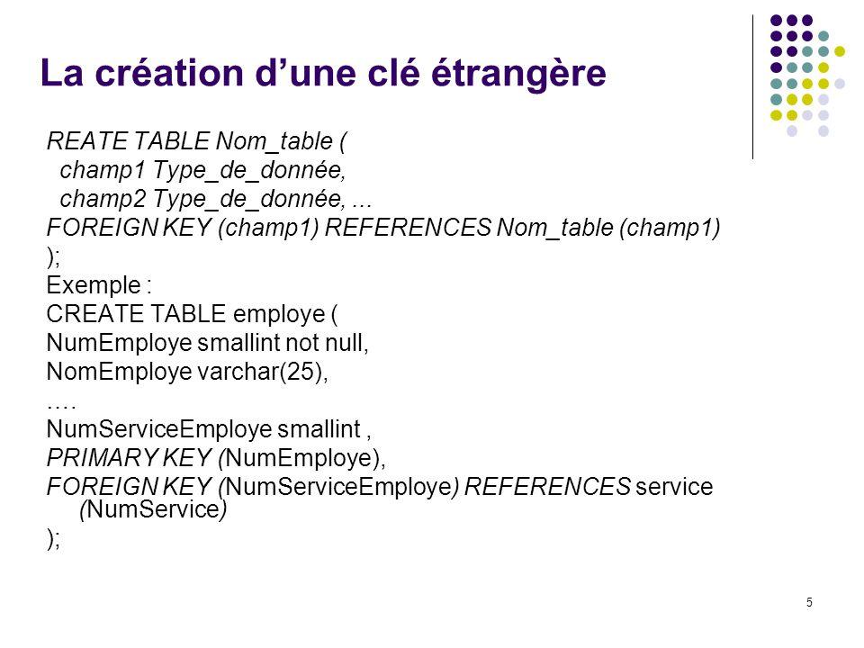 5 La création dune clé étrangère REATE TABLE Nom_table ( champ1 Type_de_donnée, champ2 Type_de_donnée,...