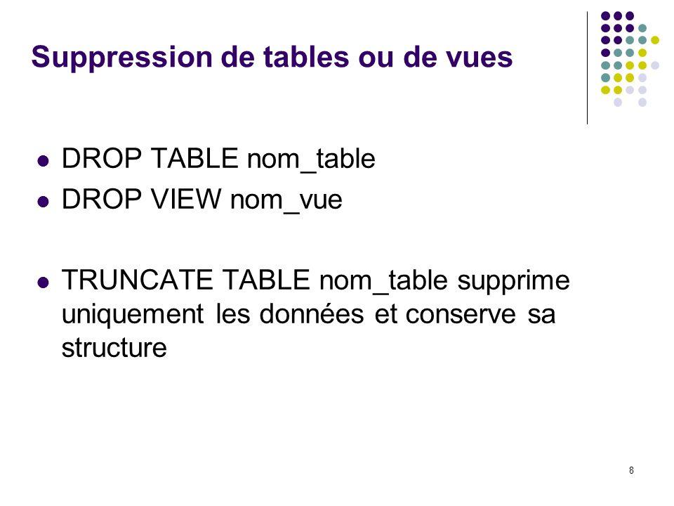 8 Suppression de tables ou de vues DROP TABLE nom_table DROP VIEW nom_vue TRUNCATE TABLE nom_table supprime uniquement les données et conserve sa structure