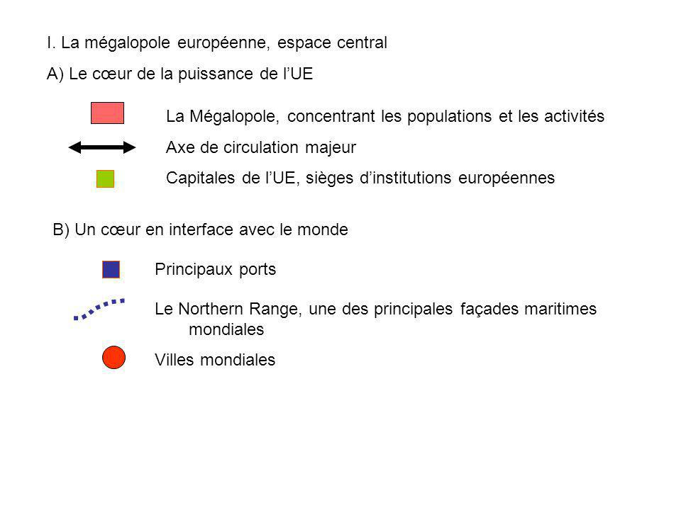 I. La mégalopole européenne, espace central A) Le cœur de la puissance de lUE La Mégalopole, concentrant les populations et les activités Axe de circu