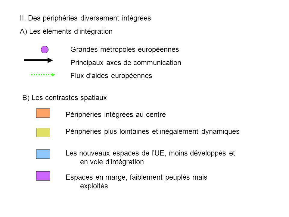 II. Des périphéries diversement intégrées A) Les éléments dintégration Grandes métropoles européennes Principaux axes de communication Flux daides eur