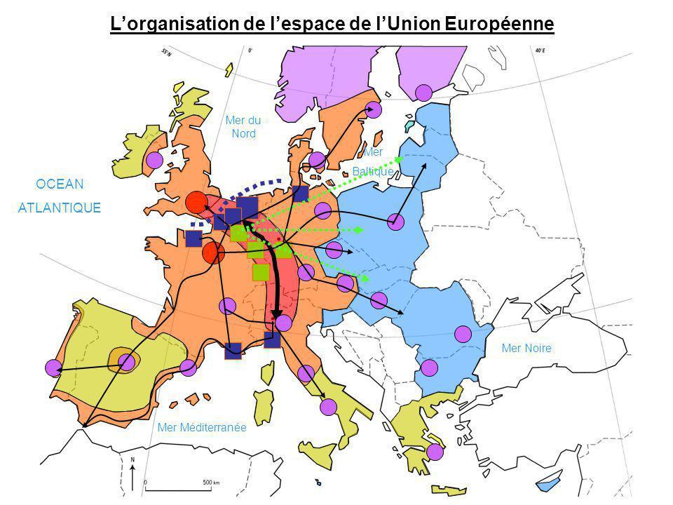 Lorganisation de lespace de lUnion Européenne OCEAN ATLANTIQUE Mer Méditerranée Mer du Nord Mer Baltique Mer Noire
