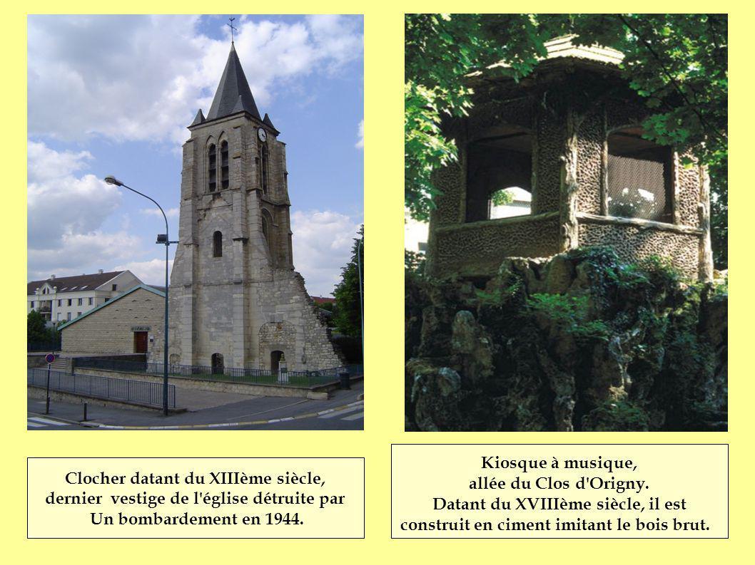 Clocher datant du XIIIème siècle, dernier vestige de l'église détruite par Un bombardement en 1944. Kiosque à musique, allée du Clos d'Origny. Datant