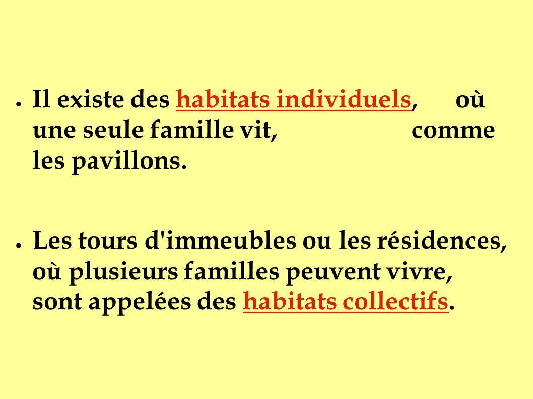 Il existe des habitats individuels, où une seule famille vit, comme les pavillons. Les tours d'immeubles ou les résidences, où plusieurs familles peuv