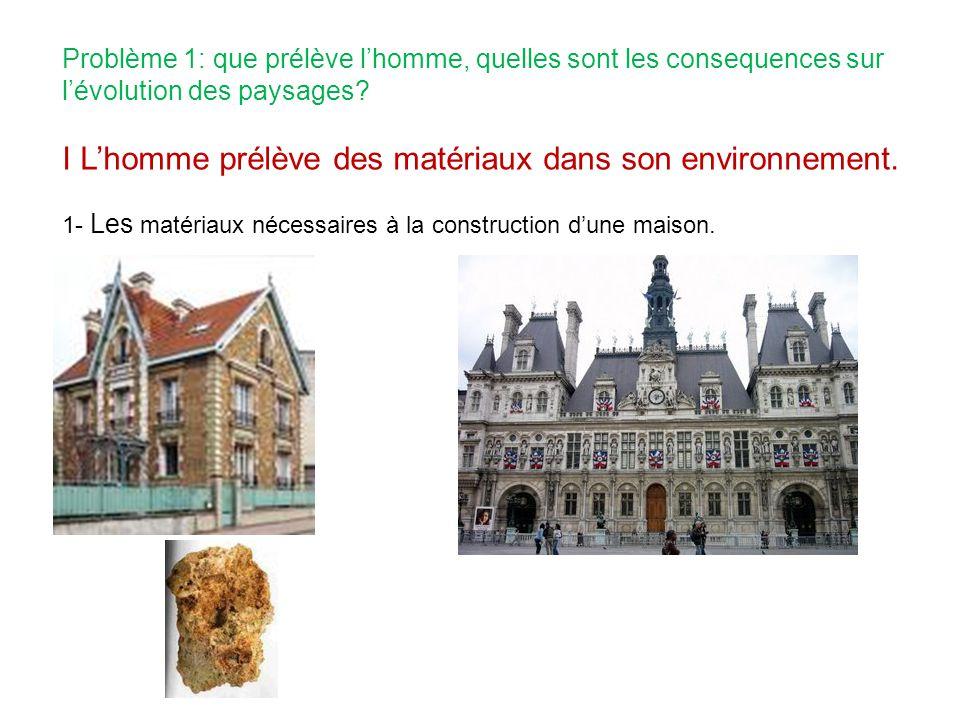 Problème 1: que prélève lhomme, quelles sont les consequences sur lévolution des paysages? I Lhomme prélève des matériaux dans son environnement. 1- L