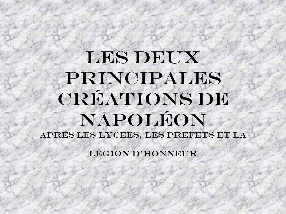 Les deux principales créations de Napoléon après les lycées, les préfets et la légion dhonneur