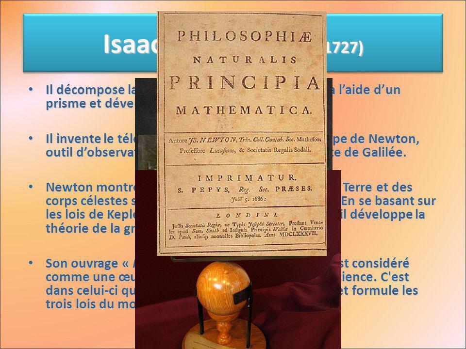 Isaac Newton (1642 - 1727) Il décompose la lumière blanche en son spectre à laide dun prisme et développe une théorie de la lumière. Il décompose la l