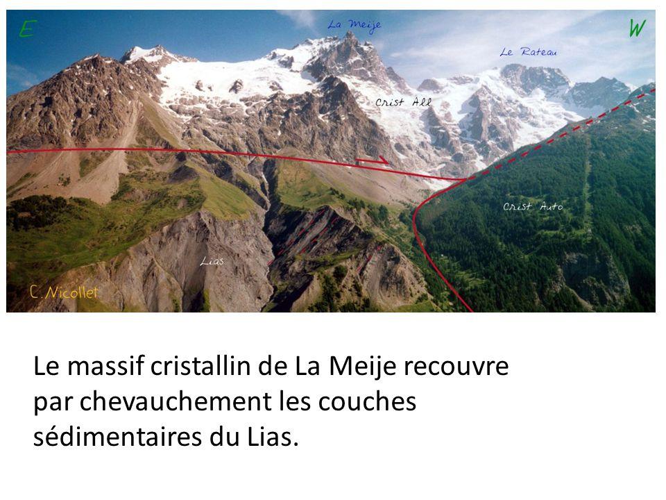 Le massif cristallin de La Meije recouvre par chevauchement les couches sédimentaires du Lias.