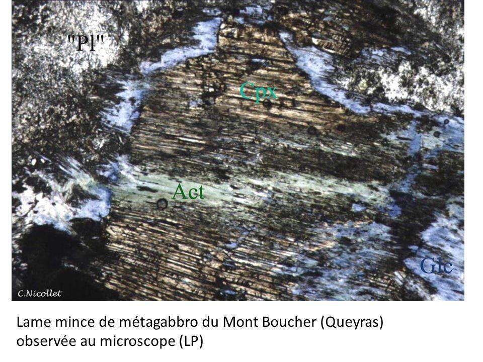 Lame mince de métagabbro du Mont Boucher (Queyras) observée au microscope (LP)