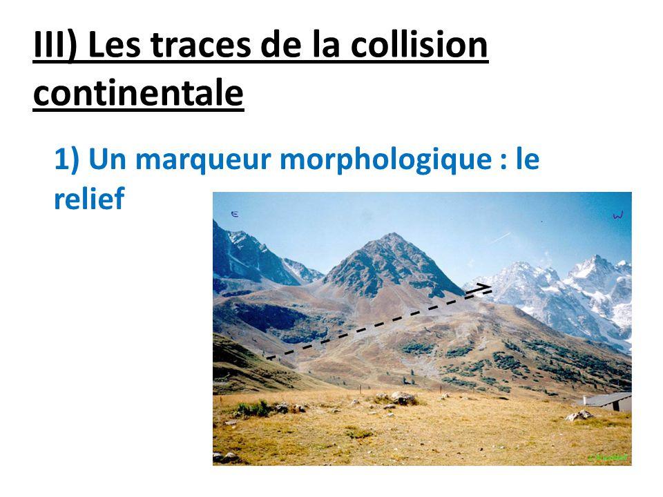 III) Les traces de la collision continentale 1) Un marqueur morphologique : le relief