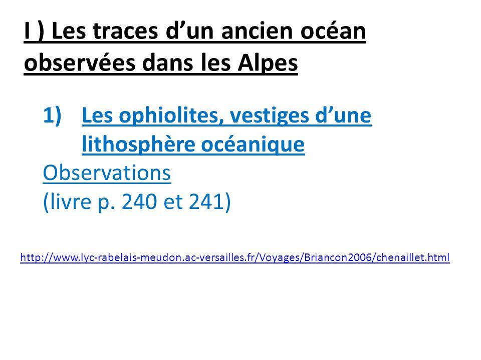 I ) Les traces dun ancien océan observées dans les Alpes 1)Les ophiolites, vestiges dune lithosphère océanique Observations (livre p. 240 et 241) http