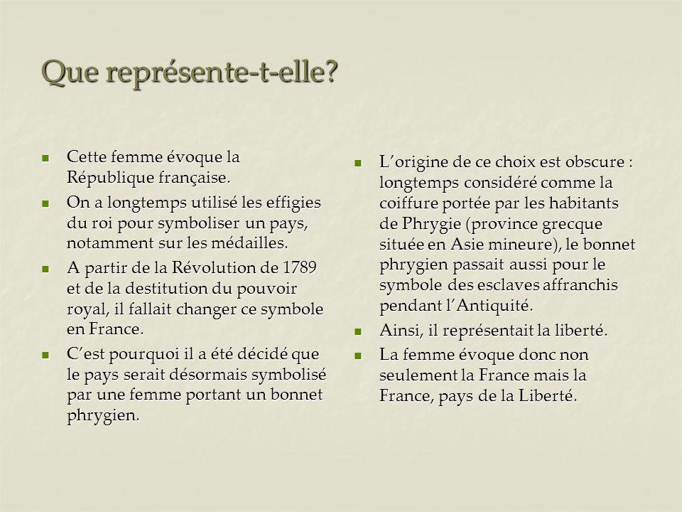 Que représente-t-elle? Cette femme évoque la République française. Cette femme évoque la République française. On a longtemps utilisé les effigies du